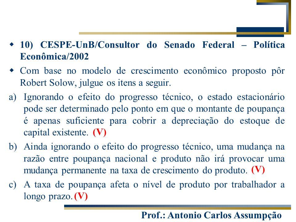 Prof.: Antonio Carlos Assumpção  10) CESPE-UnB/Consultor do Senado Federal – Política Econômica/2002  Com base no modelo de crescimento econômico pr