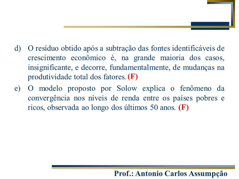 Prof.: Antonio Carlos Assumpção d)O resíduo obtido após a subtração das fontes identificáveis de crescimento econômico é, na grande maioria dos casos,