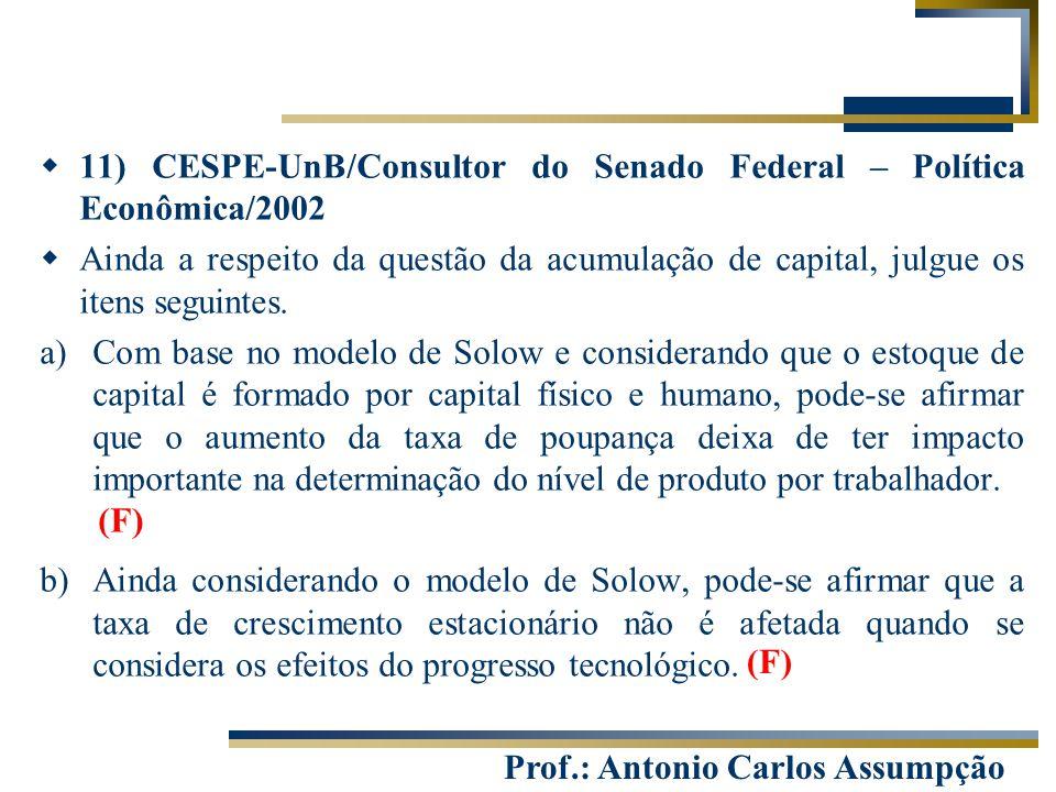 Prof.: Antonio Carlos Assumpção  11) CESPE-UnB/Consultor do Senado Federal – Política Econômica/2002  Ainda a respeito da questão da acumulação de c