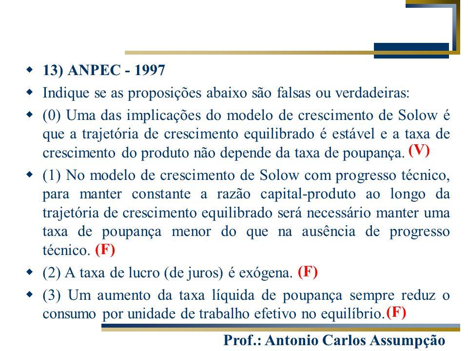 Prof.: Antonio Carlos Assumpção  13) ANPEC - 1997  Indique se as proposições abaixo são falsas ou verdadeiras:  (0) Uma das implicações do modelo d