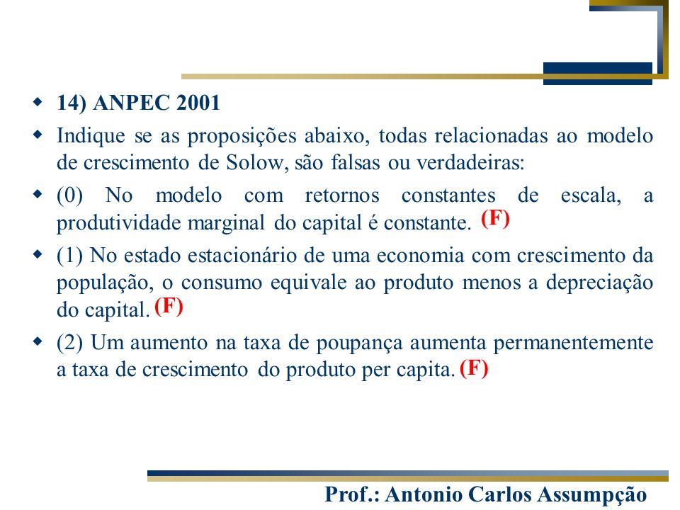 Prof.: Antonio Carlos Assumpção  14) ANPEC 2001  Indique se as proposições abaixo, todas relacionadas ao modelo de crescimento de Solow, são falsas