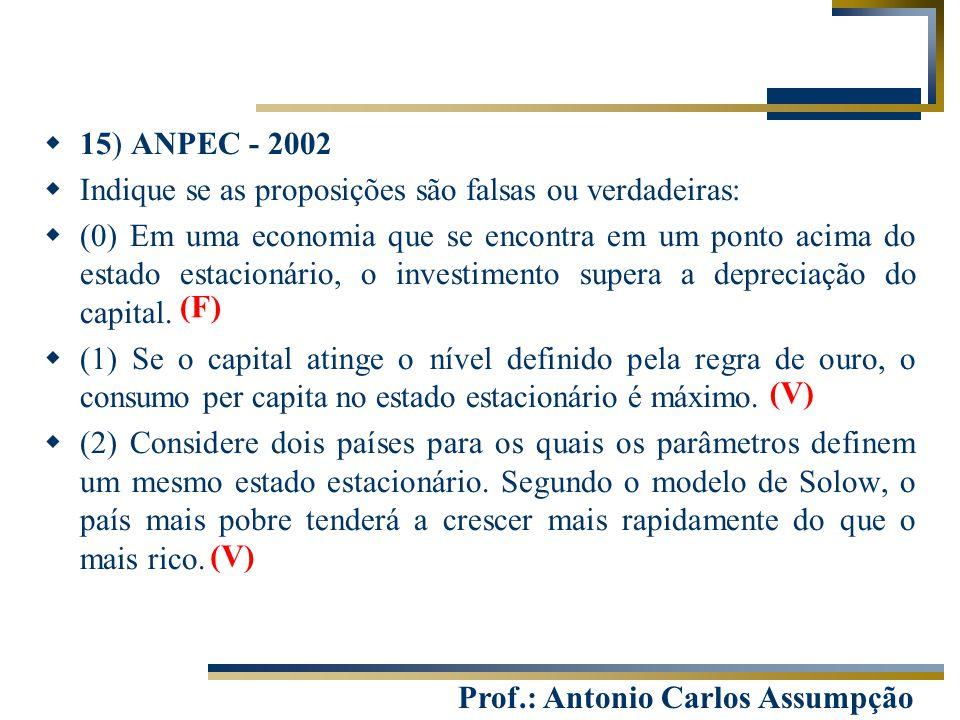 Prof.: Antonio Carlos Assumpção  15) ANPEC - 2002  Indique se as proposições são falsas ou verdadeiras:  (0) Em uma economia que se encontra em um