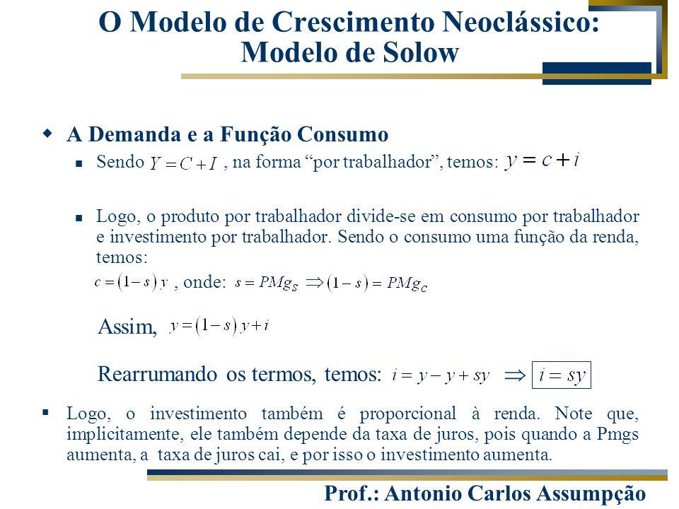"""Prof.: Antonio Carlos Assumpção  A Demanda e a Função Consumo Sendo, na forma """"por trabalhador"""", temos: Logo, o produto por trabalhador divide-se em"""