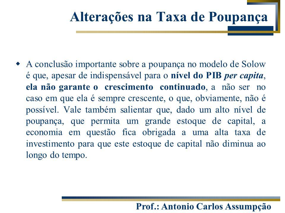 Prof.: Antonio Carlos Assumpção  A conclusão importante sobre a poupança no modelo de Solow é que, apesar de indispensável para o nível do PIB per ca