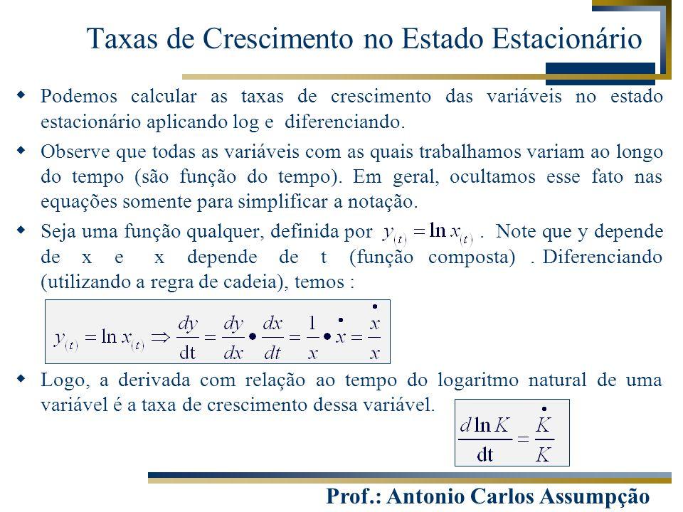 Prof.: Antonio Carlos Assumpção  Podemos calcular as taxas de crescimento das variáveis no estado estacionário aplicando log e diferenciando.  Obser