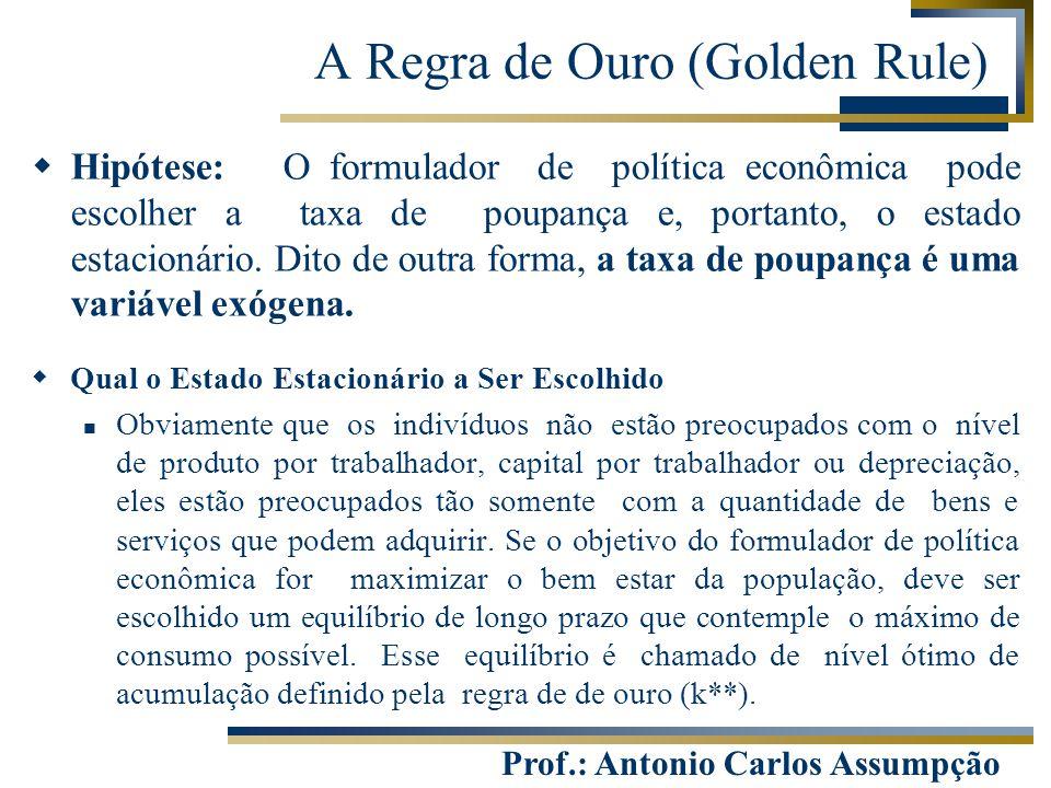 Prof.: Antonio Carlos Assumpção A Regra de Ouro (Golden Rule)  Hipótese: O formulador de política econômica pode escolher a taxa de poupança e, porta