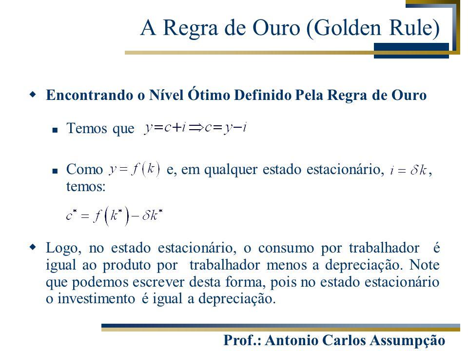 Prof.: Antonio Carlos Assumpção  Encontrando o Nível Ótimo Definido Pela Regra de Ouro Temos que Como e, em qualquer estado estacionário,, temos:  L