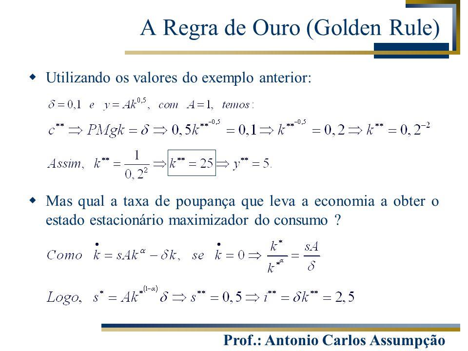 Prof.: Antonio Carlos Assumpção  Utilizando os valores do exemplo anterior:  Mas qual a taxa de poupança que leva a economia a obter o estado estaci