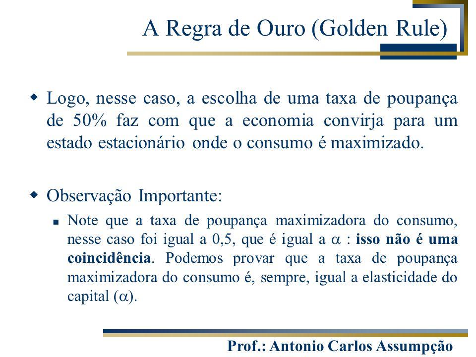 Prof.: Antonio Carlos Assumpção  Logo, nesse caso, a escolha de uma taxa de poupança de 50% faz com que a economia convirja para um estado estacionár