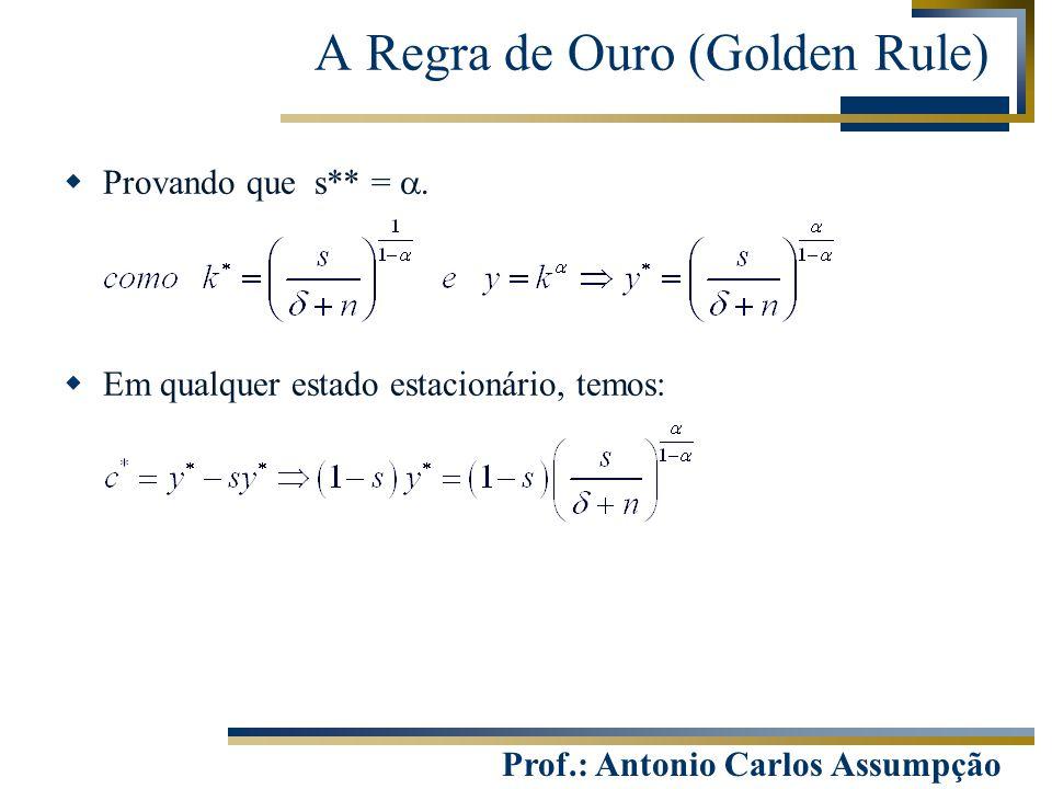 Prof.: Antonio Carlos Assumpção  Provando que s** =   Em qualquer estado estacionário, temos: A Regra de Ouro (Golden Rule)