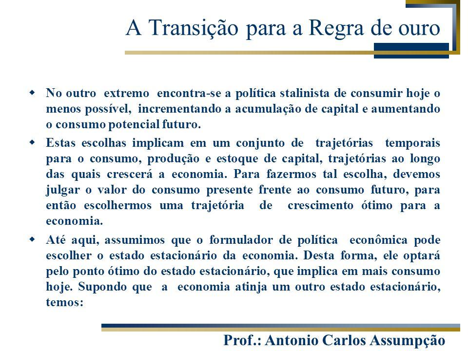 Prof.: Antonio Carlos Assumpção  No outro extremo encontra-se a política stalinista de consumir hoje o menos possível, incrementando a acumulação de