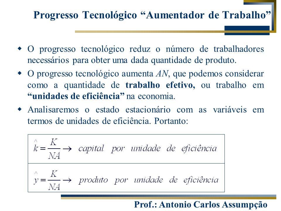 Prof.: Antonio Carlos Assumpção  O progresso tecnológico reduz o número de trabalhadores necessários para obter uma dada quantidade de produto.  O p