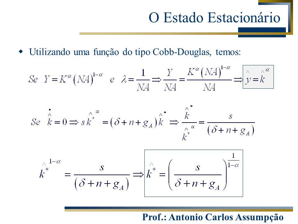 Prof.: Antonio Carlos Assumpção  Utilizando uma função do tipo Cobb-Douglas, temos: O Estado Estacionário