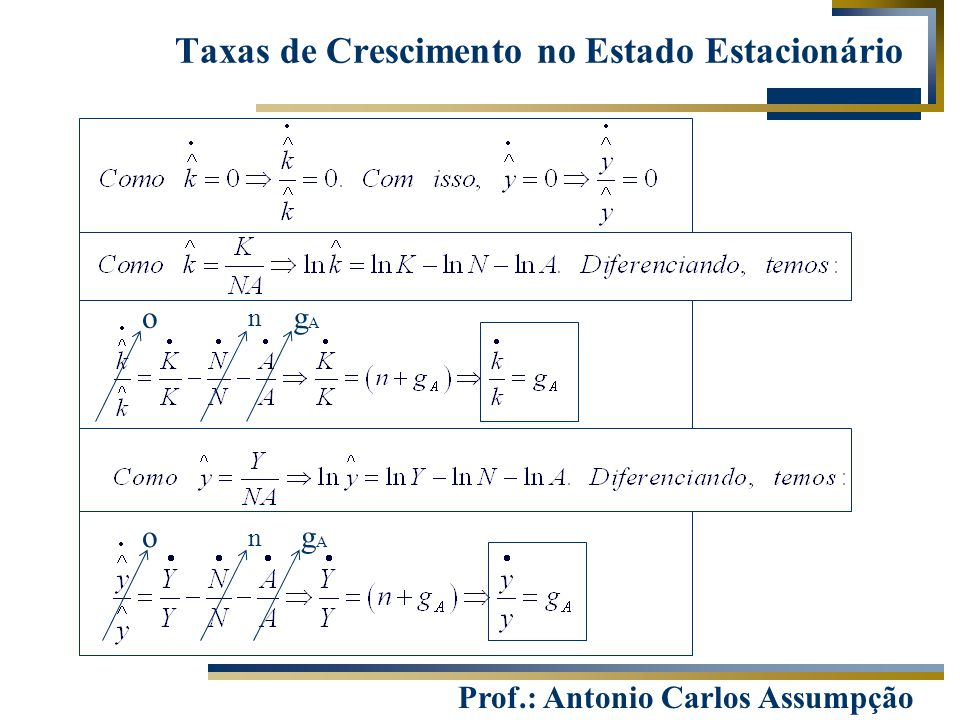 Prof.: Antonio Carlos Assumpção Taxas de Crescimento no Estado Estacionário ogAgA n ogAgA n