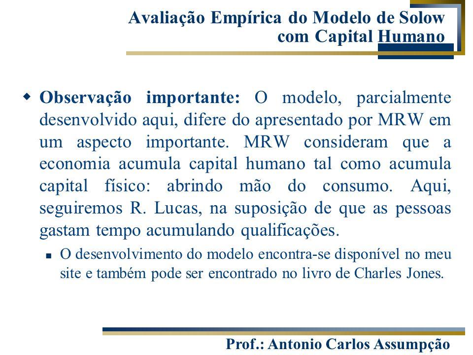 Prof.: Antonio Carlos Assumpção  Observação importante: O modelo, parcialmente desenvolvido aqui, difere do apresentado por MRW em um aspecto importa