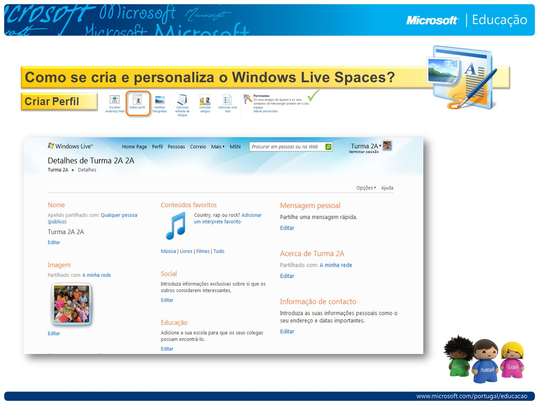 Como se cria e personaliza o Windows Live Spaces Criar Perfil 