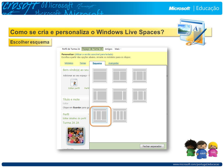 Como se cria e personaliza o Windows Live Spaces Escolher esquema