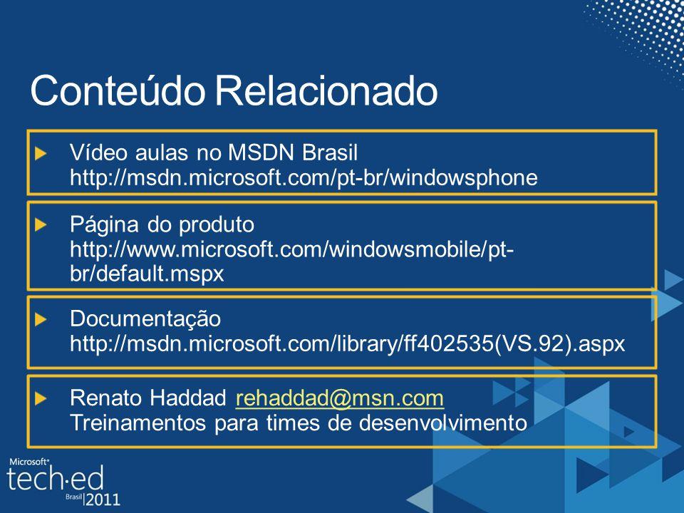 Slide Obrigatorio Palestrantes, Por favor listar conteudos existentes dentro das paginas dos produtos (www.microsoft.co mbrasil) e paginas do TechNet