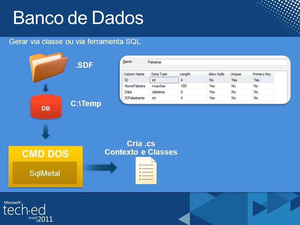 Gerar via classe ou via ferramenta SQL CMD DOS Cria.cs Contexto e Classes.SDF SqlMetal C:\Temp