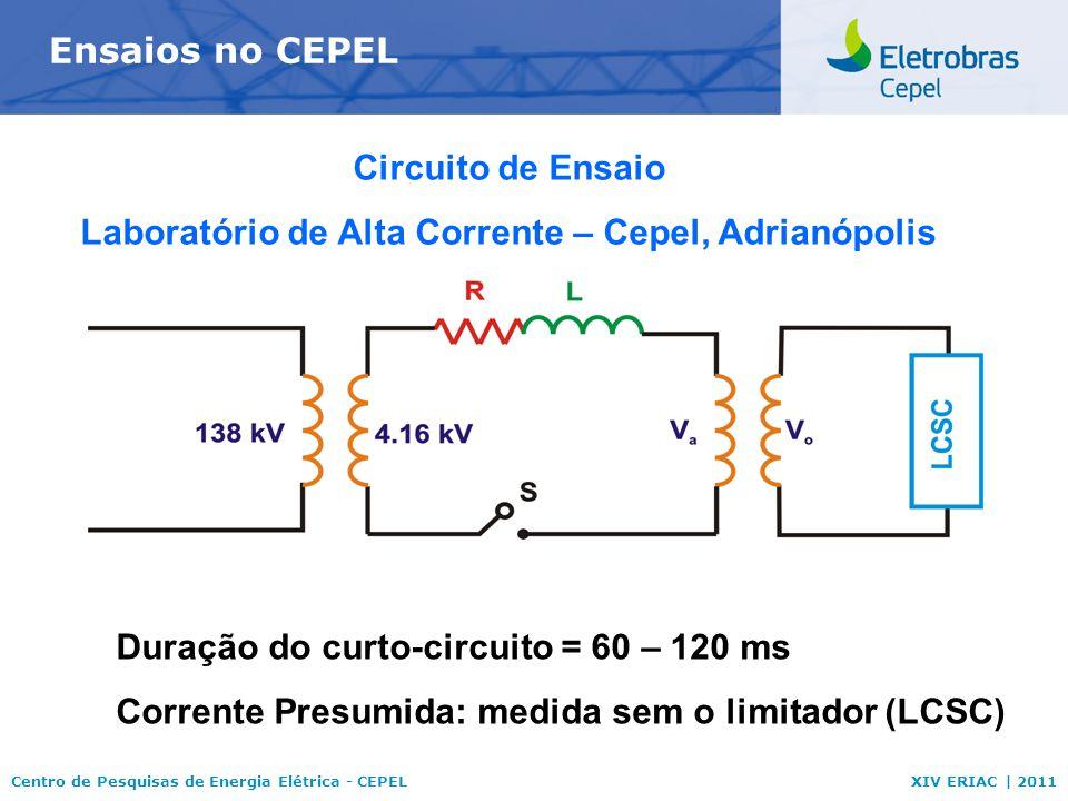 Centro de Pesquisas de Energia Elétrica - CEPELXIV ERIAC | 2011 Ensaios no CEPEL Circuito de Ensaio Laboratório de Alta Corrente – Cepel, Adrianópolis