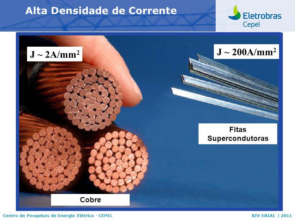 Centro de Pesquisas de Energia Elétrica - CEPELXIV ERIAC | 2011 J ~ 2A/mm 2 J ~ 200A/mm 2 Alta Densidade de Corrente Fitas Supercondutoras Cobre