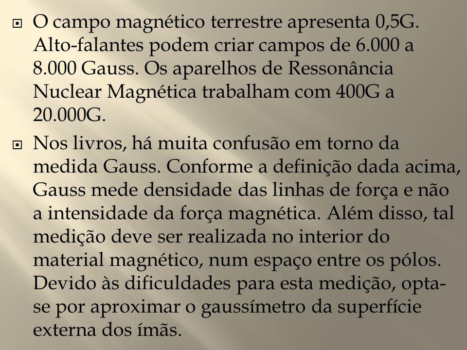  O campo magnético terrestre apresenta 0,5G. Alto-falantes podem criar campos de 6.000 a 8.000 Gauss. Os aparelhos de Ressonância Nuclear Magnética t