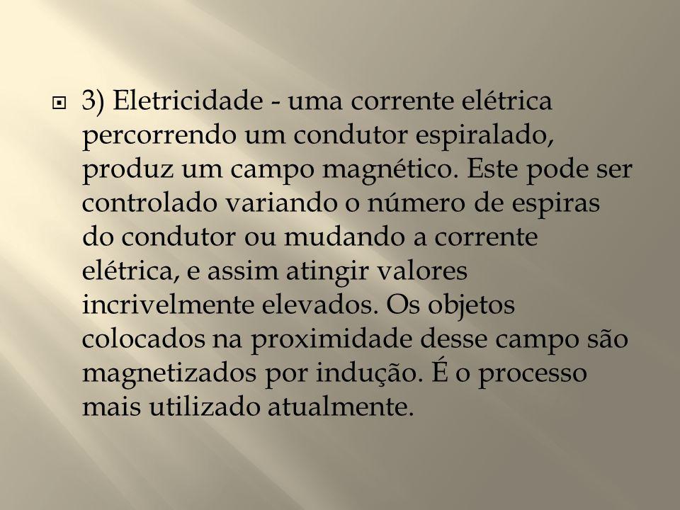  3) Eletricidade - uma corrente elétrica percorrendo um condutor espiralado, produz um campo magnético. Este pode ser controlado variando o número de