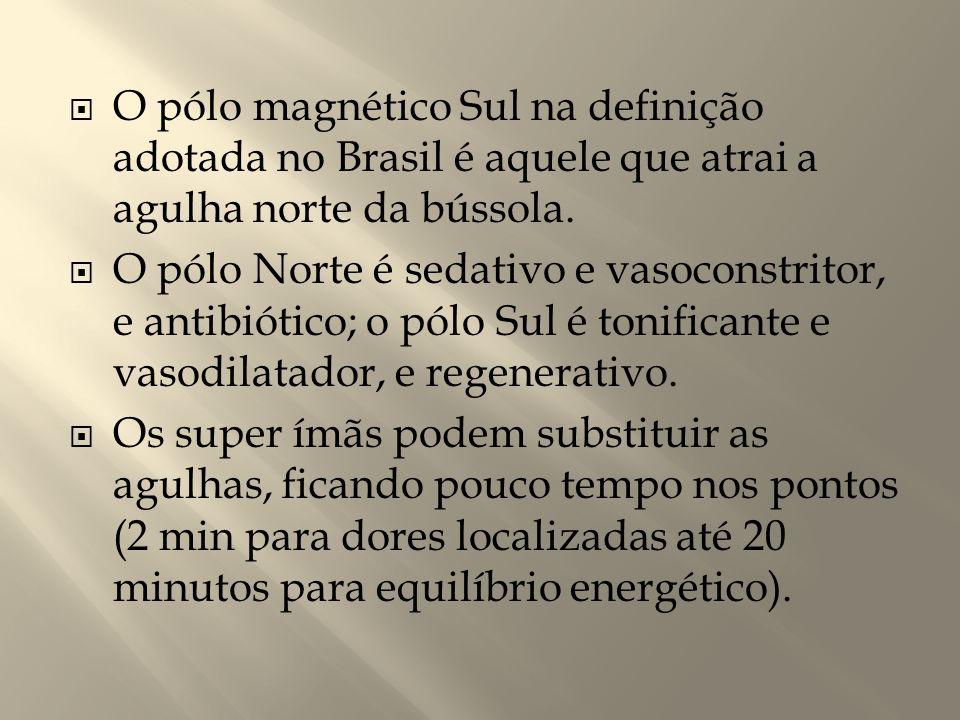  O pólo magnético Sul na definição adotada no Brasil é aquele que atrai a agulha norte da bússola.  O pólo Norte é sedativo e vasoconstritor, e anti