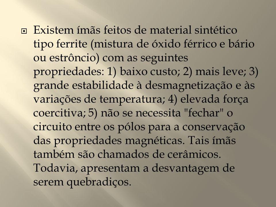  Existem ímãs feitos de material sintético tipo ferrite (mistura de óxido férrico e bário ou estrôncio) com as seguintes propriedades: 1) baixo custo