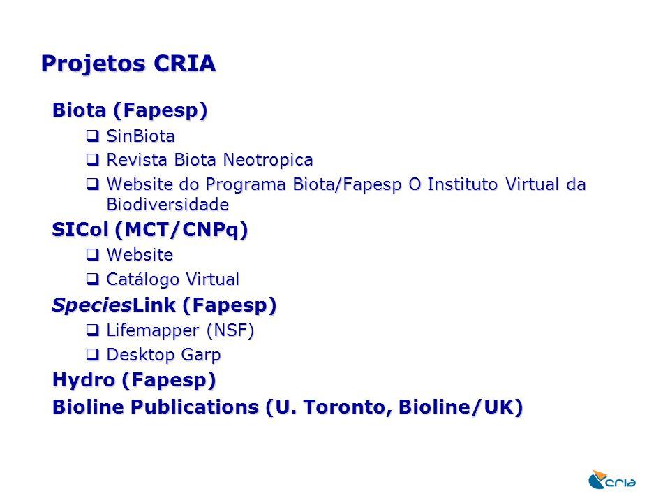 Projetos CRIA Biota (Fapesp)  SinBiota  Revista Biota Neotropica  Website do Programa Biota/Fapesp O Instituto Virtual da Biodiversidade SICol (MCT