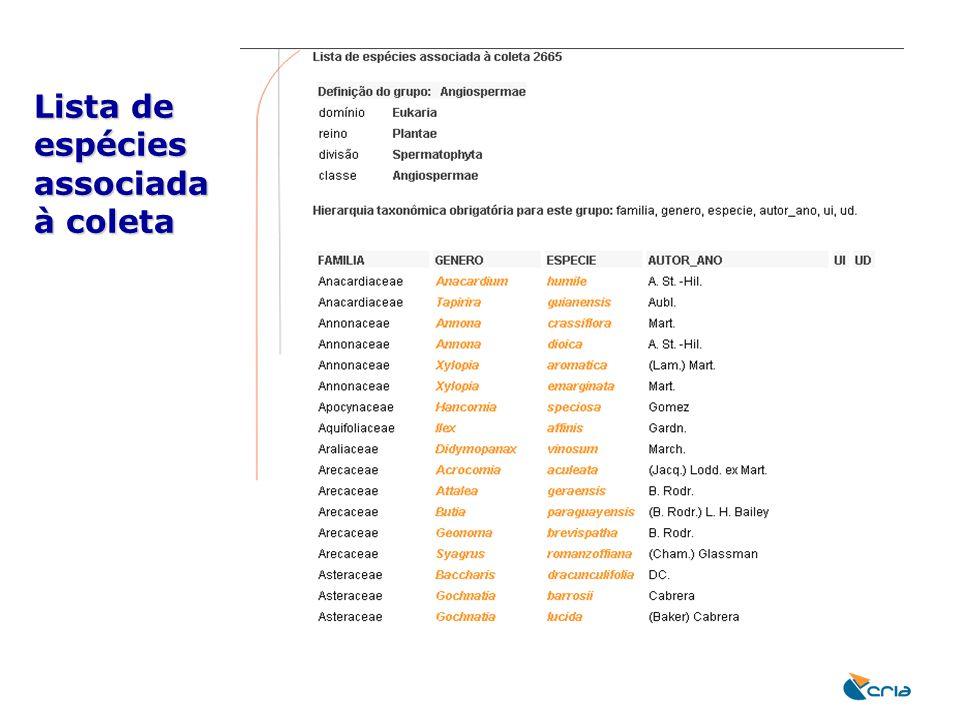 Lista de espécies associada à coleta