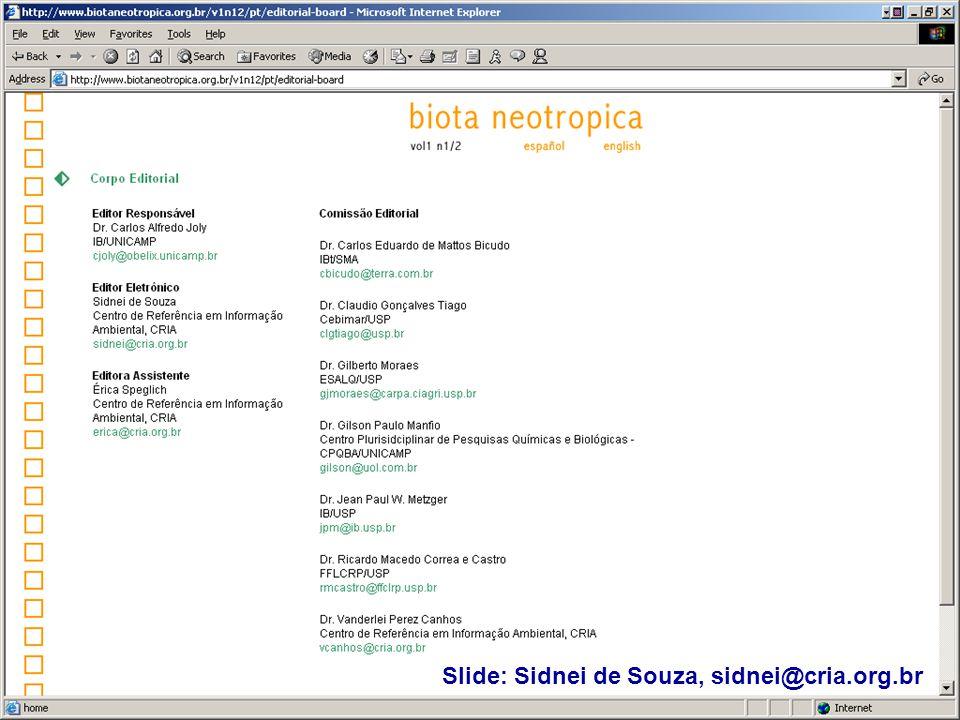 Slide: Sidnei de Souza, sidnei@cria.org.br