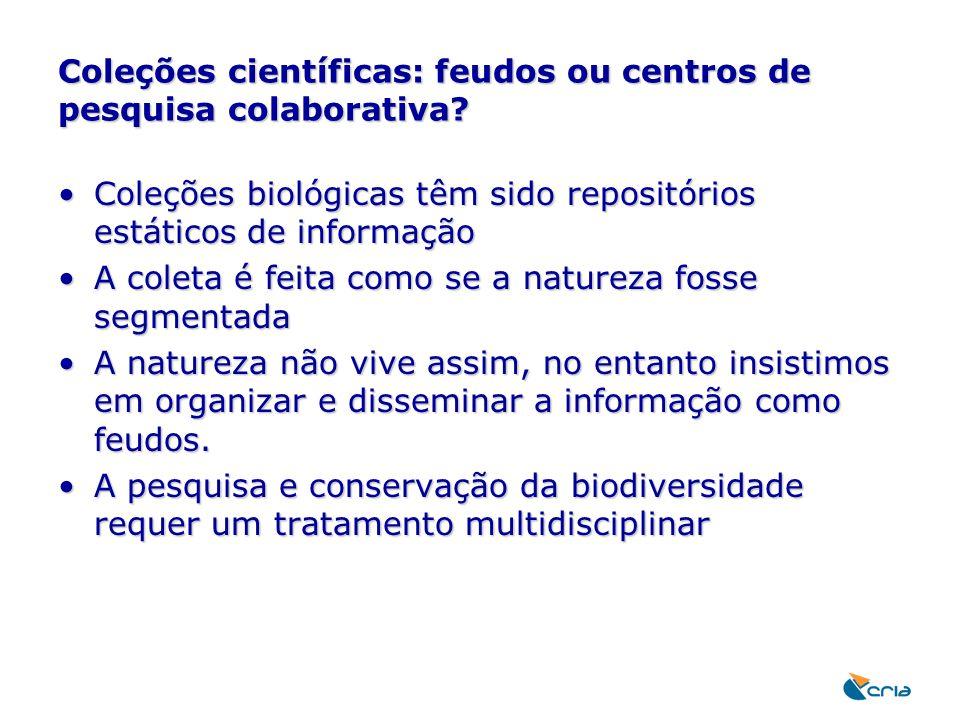 Coleções científicas: feudos ou centros de pesquisa colaborativa? Coleções biológicas têm sido repositórios estáticos de informaçãoColeções biológicas