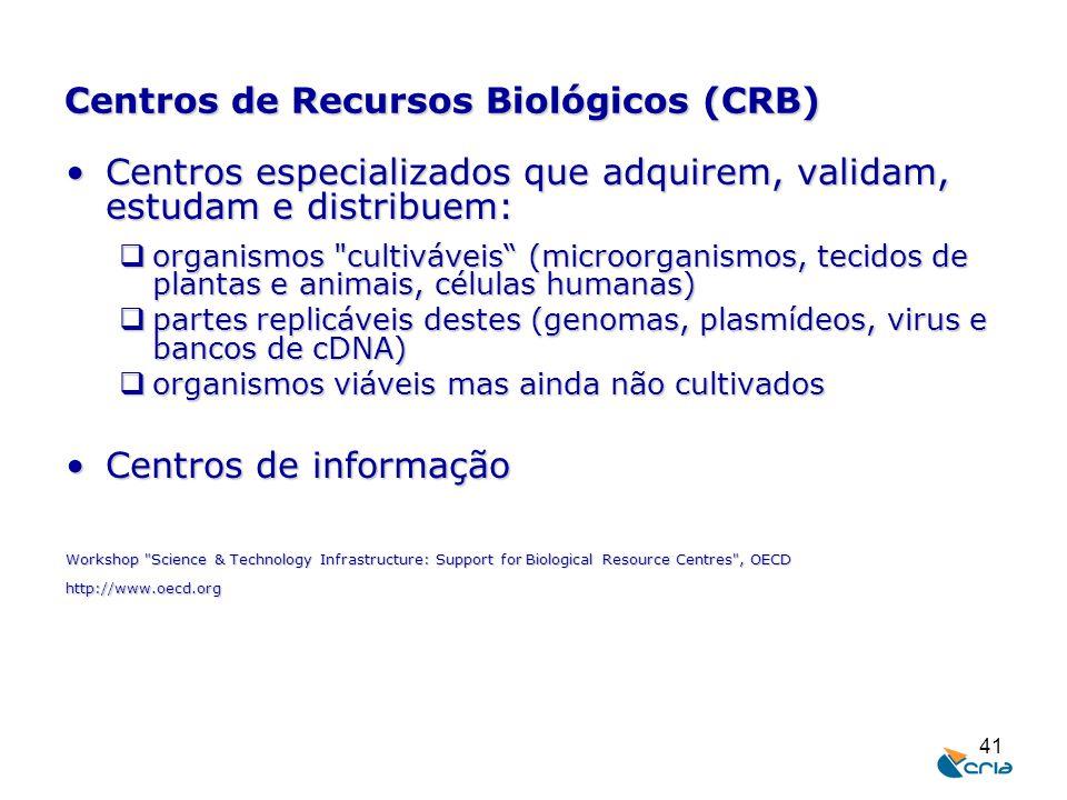 41 Centros de Recursos Biológicos (CRB) Centros especializados que adquirem, validam, estudam e distribuem:Centros especializados que adquirem, valida
