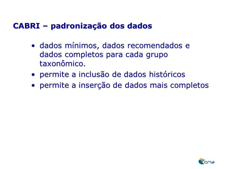 CABRI – padronização dos dados dados mínimos, dados recomendados e dados completos para cada grupo taxonômico.dados mínimos, dados recomendados e dado