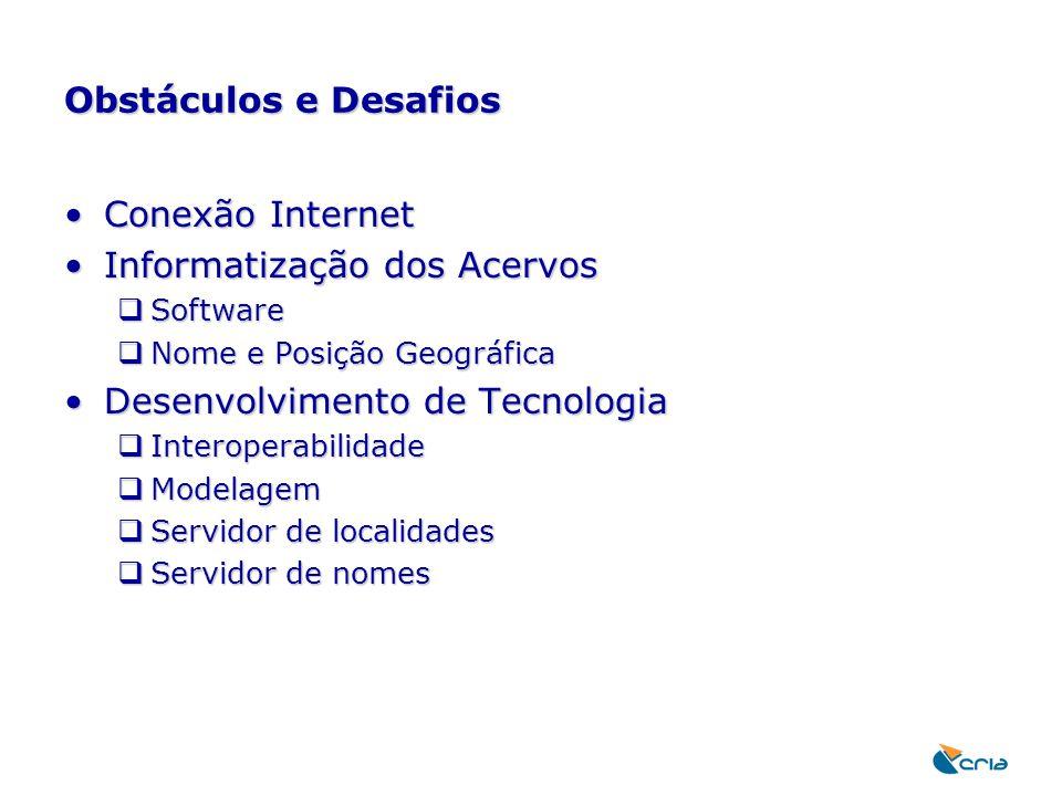 Obstáculos e Desafios Conexão InternetConexão Internet Informatização dos AcervosInformatização dos Acervos  Software  Nome e Posição Geográfica Des