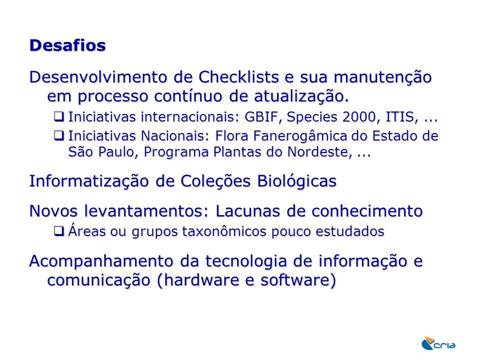 Desafios Desenvolvimento de Checklists e sua manutenção em processo contínuo de atualização.  Iniciativas internacionais: GBIF, Species 2000, ITIS,..