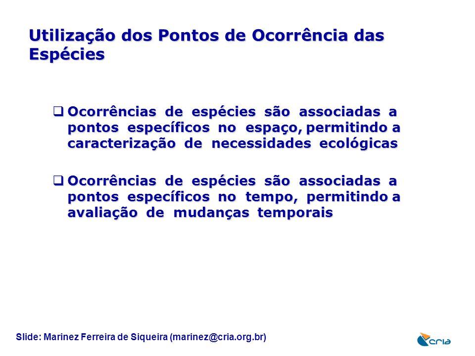 Utilização dos Pontos de Ocorrência das Espécies  Ocorrências de espécies são associadas a pontos específicos no espaço, permitindo a caracterização