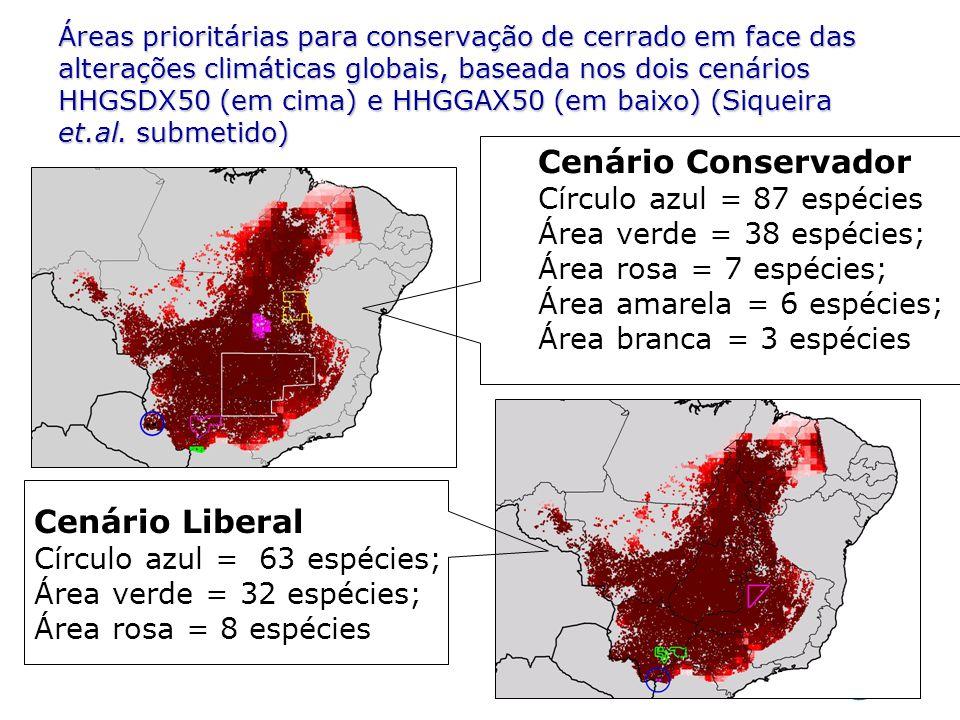 Áreas prioritárias para conservação de cerrado em face das alterações climáticas globais, baseada nos dois cenários HHGSDX50 (em cima) e HHGGAX50 (em