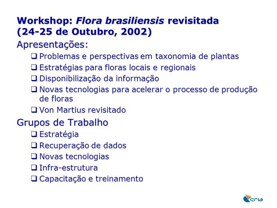 Workshop: Flora brasiliensis revisitada (24-25 de Outubro, 2002) Apresentações:  Problemas e perspectivas em taxonomia de plantas  Estratégias para