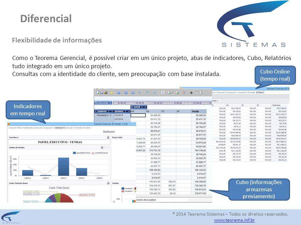 Diferencial Flexibilidade de informações Como o Teorema Gerencial, é possível criar em um único projeto, abas de indicadores, Cubo, Relatórios tudo in