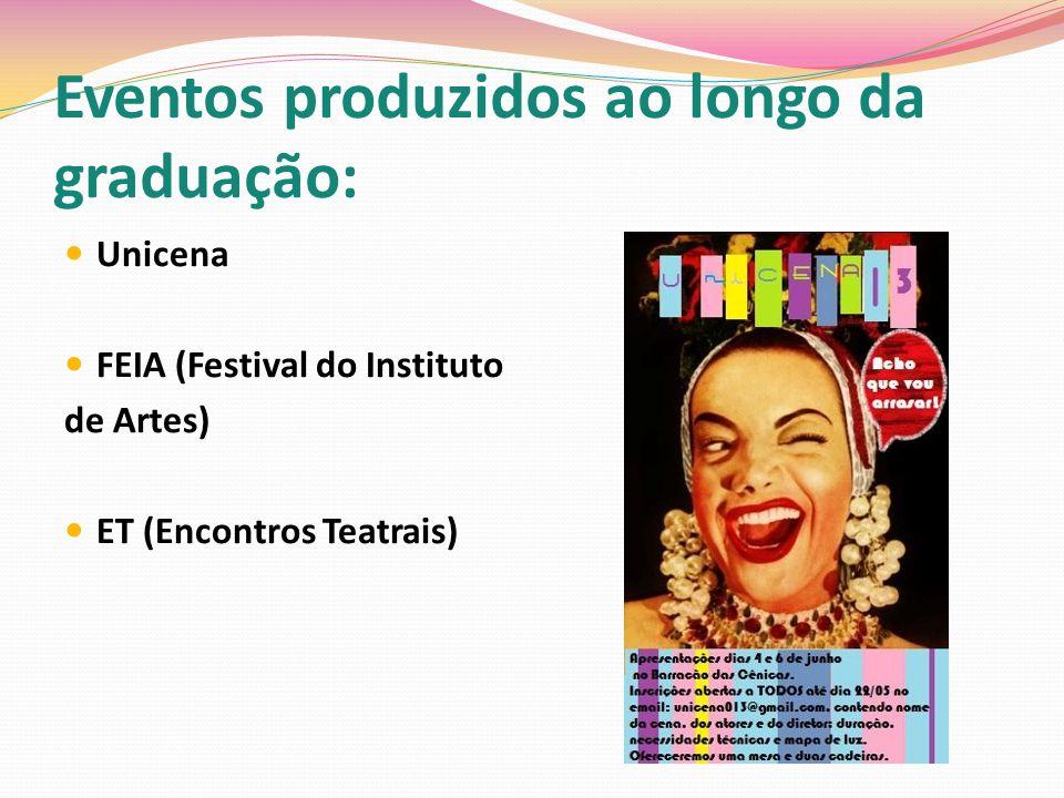 Eventos produzidos ao longo da graduação: Unicena FEIA (Festival do Instituto de Artes) ET (Encontros Teatrais)