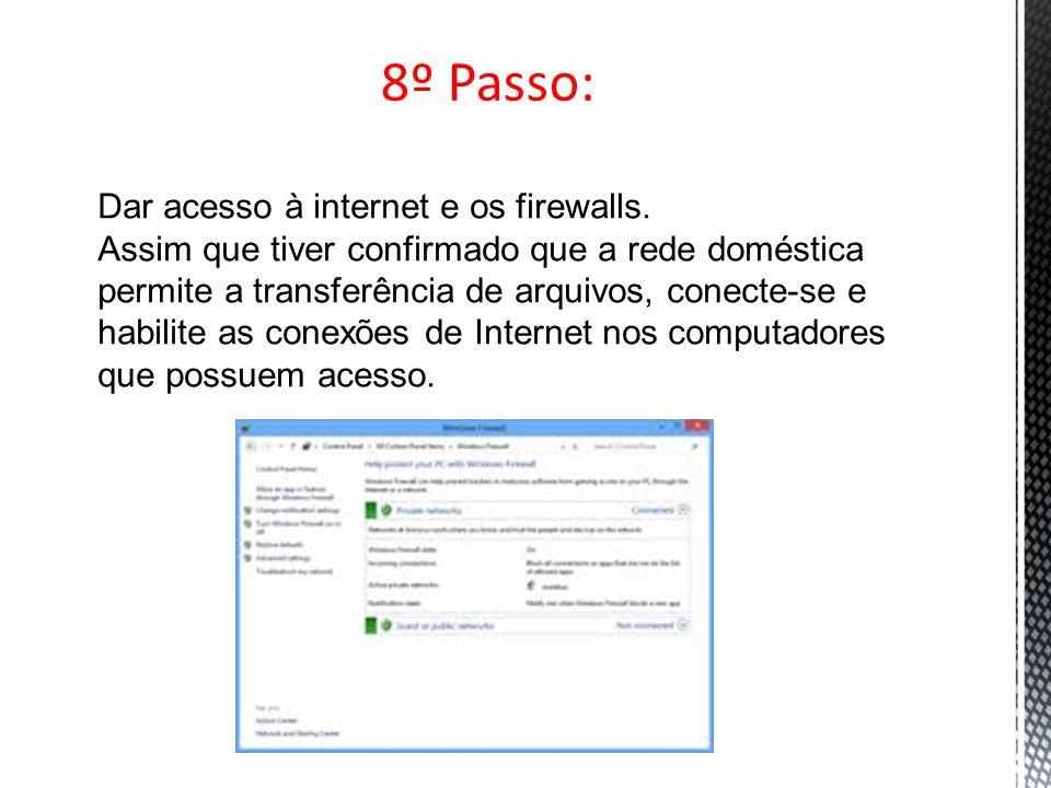 8º Passo: Dar acesso à internet e os firewalls. Assim que tiver confirmado que a rede doméstica permite a transferência de arquivos, conecte-se e habi
