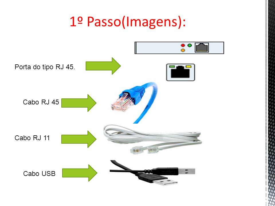 1º Passo(Imagens): Porta do tipo RJ 45. Cabo RJ 45 Cabo RJ 11 Cabo USB