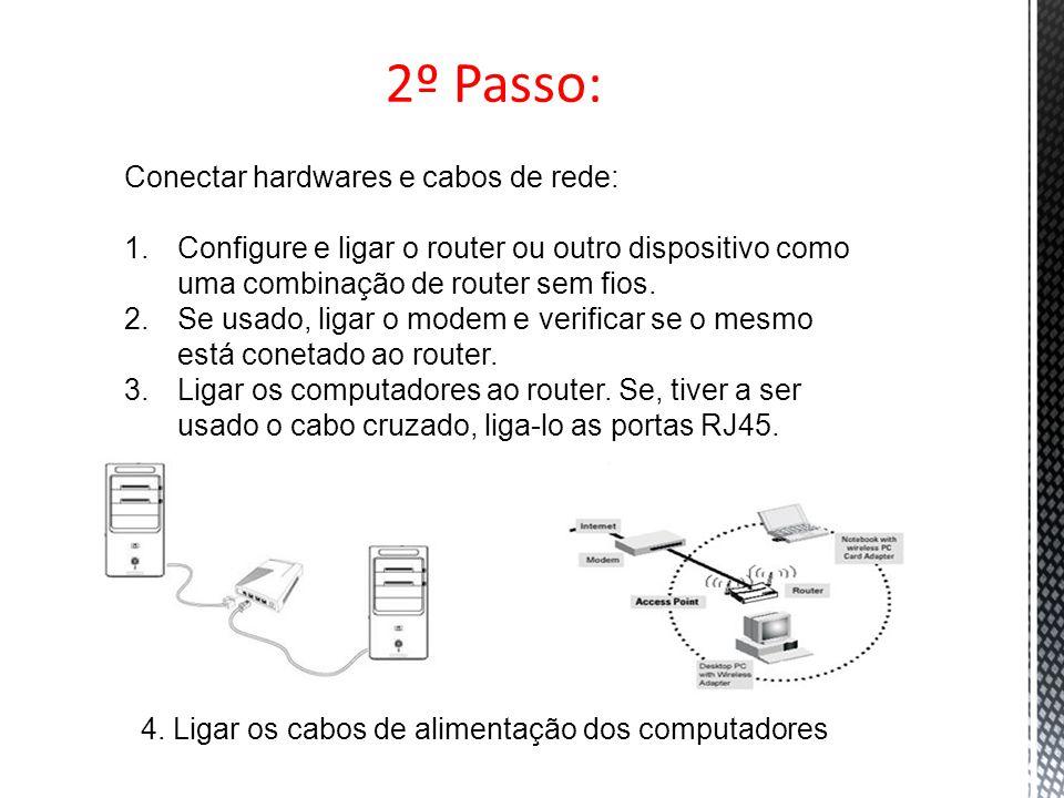 2º Passo: Conectar hardwares e cabos de rede: 1.Configure e ligar o router ou outro dispositivo como uma combinação de router sem fios. 2.Se usado, li
