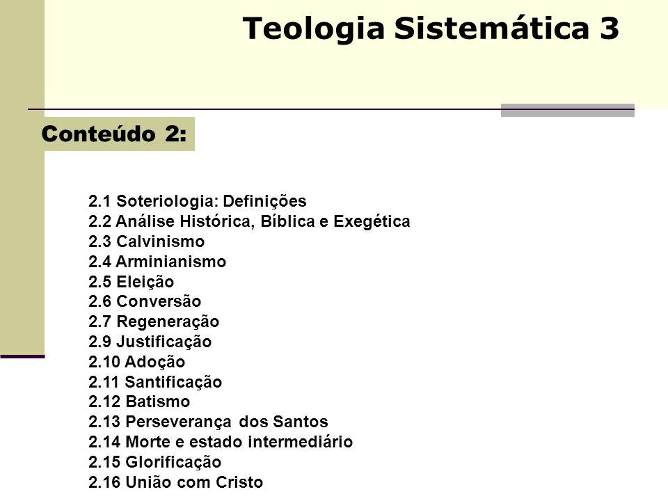 Teologia Sistemática 3 2.1 Soteriologia: Definições 2.2 Análise Histórica, Bíblica e Exegética 2.3 Calvinismo 2.4 Arminianismo 2.5 Eleição 2.6 Convers
