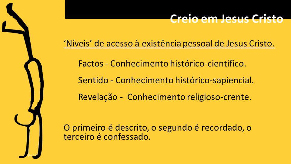 'Níveis' de acesso à existência pessoal de Jesus Cristo.