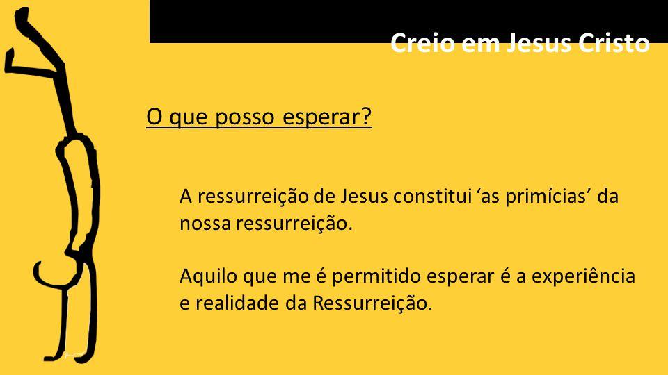 O que posso esperar.A ressurreição de Jesus constitui 'as primícias' da nossa ressurreição.
