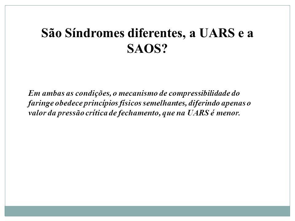 São Síndromes diferentes, a UARS e a SAOS.