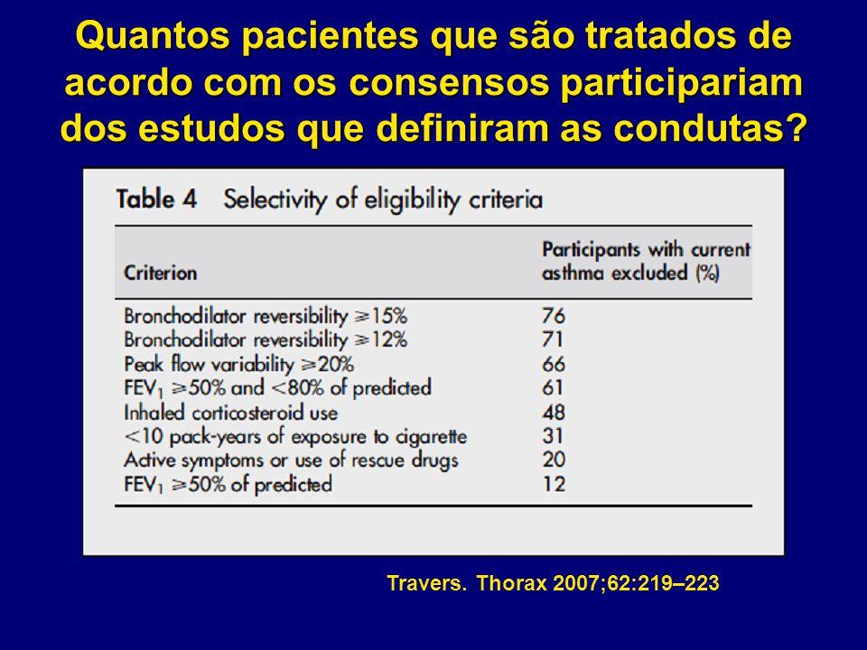Travers. Thorax 2007;62:219–223 Quantos pacientes que são tratados de acordo com os consensos participariam dos estudos que definiram as condutas?